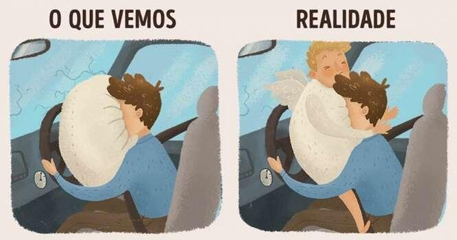 Ilustrações mostrando como é difícil a vida de um anjo da guarda