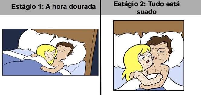 Ilustrações revelando como é dormir com outra pessoa