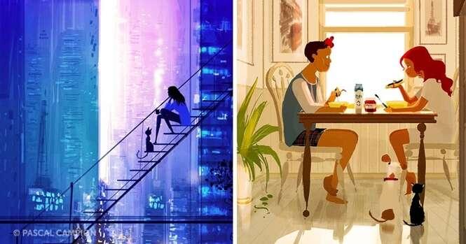 Imagens ilustrando a alegria da vida
