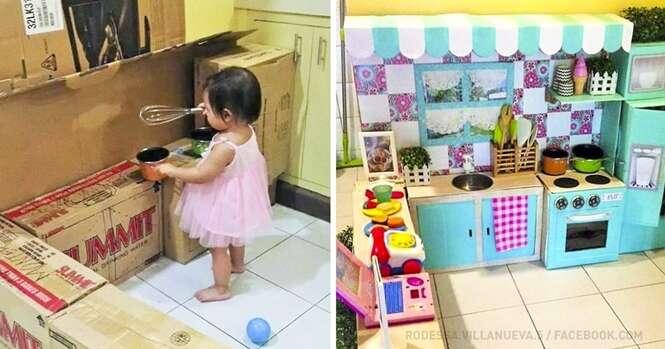 Essa mãe fez a cozinha dos sonhos para sua filha usando caixas de papelão