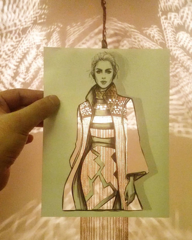 Ilustrador de moda usa nuvens e prédios para completar seus desenhos