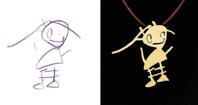 Artista transforma desenhos de crianças em lindas joias