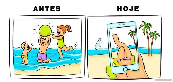 Ilustrações mostrando como a infância de hoje está mudada