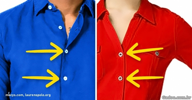 Por que os botões das camisas de homens e mulheres ficam de lados opostos