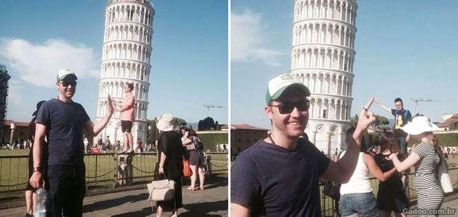 Esse jovem tirou as fotos mais hilárias na Torre de Pisa – zoando os turistas