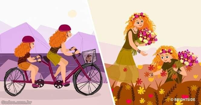 Fofas ilustrações mostrando como é ser mãe de uma filha