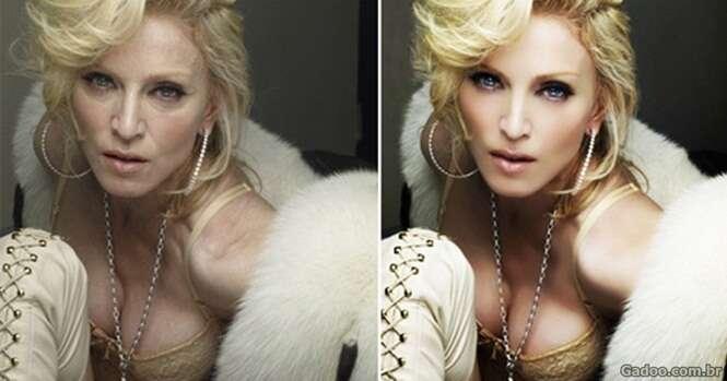 Fotos incríveis de celebridades antes e depois de passar pelo Photoshop