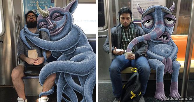 Artista cria fotos divertidas adicionando desenhos de monstros no metrô