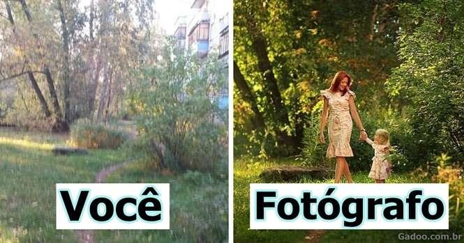 Imagens demonstrando a diferença de fotos feitas por pessoas comuns e por fotógrafos profissionais