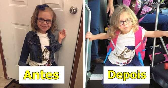 Série de imagens mostra crianças antes e depois do primeiro dia de aula