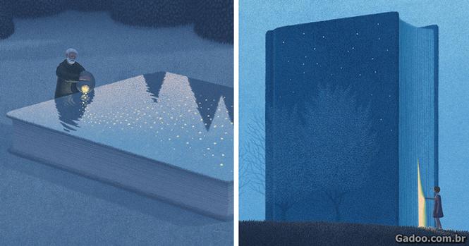 Coreano cria ilustrações surreais para os amantes de livros