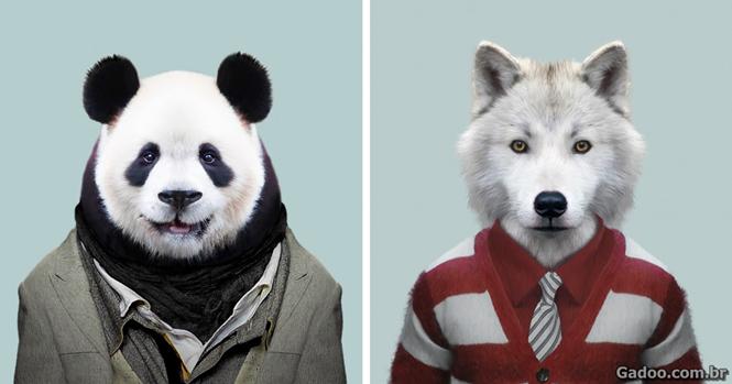 Artista passa 3 anos vestindo animais de zoológico como humanos