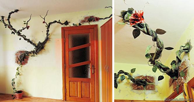 Artista cria trabalho curioso fazendo árvores saírem de paredes