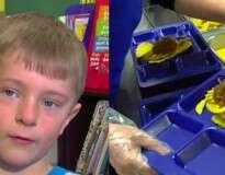 Este garotinho comprou almoço para 295 crianças na escola que não podiam pagar pelas refeições
