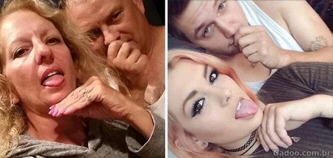 Pais zombam da filha e do namorado dela recriando fotos do casal de forma hilária