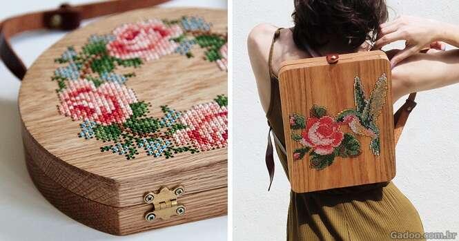 Que tal esta mochila de madeira com crochê?