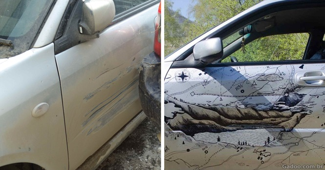 Quando um caminhão bateu no carro deste motorista, ele resolveu consertá-lo de uma forma incrível