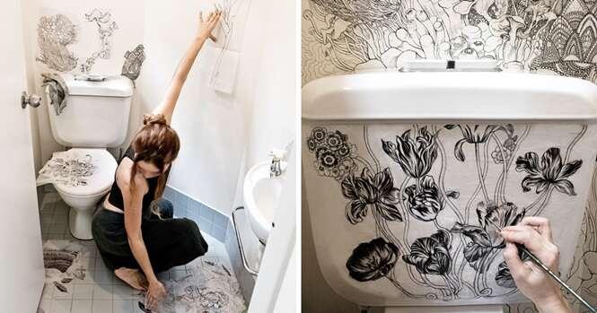 """Como esta artista transformou um banheiro simples em um lugar """"mágico"""""""