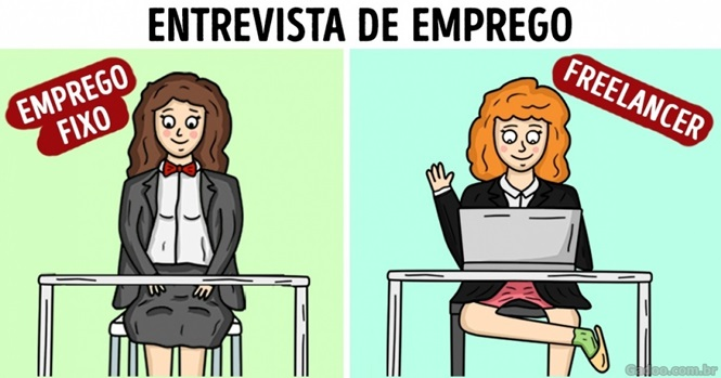 Comics mostrando a vida de quem tem emprego fixo e de quem é freelancer