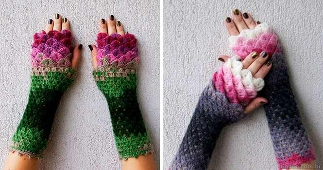 Lindas luvas de crochê podem lhe proteger nos dias frios