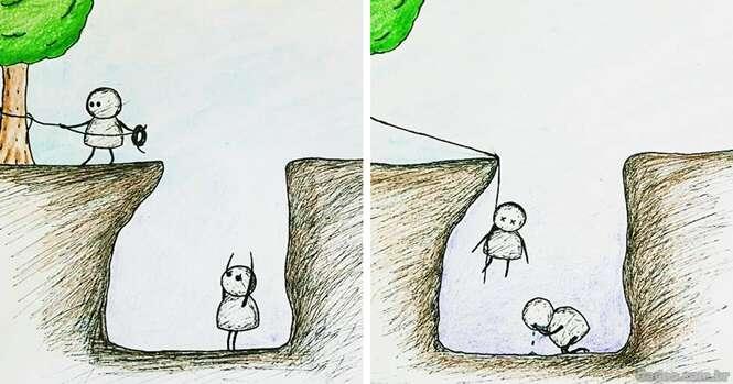 Ilustrações que mostrando o lado doloroso de amar