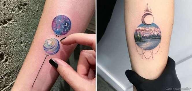 Tatuagens incríveis com desenhos bem detalhados dentro de círculos