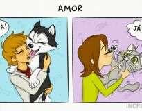 14 quadrinhos ilustrando a diferença de ter um cão e um gato