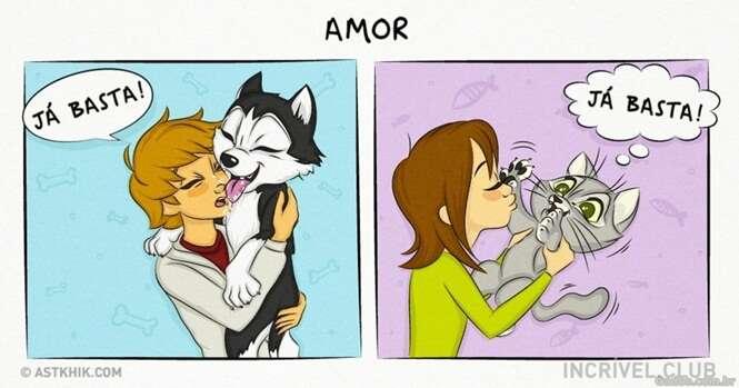 Quadrinhos ilustrando a diferença de ter um cão e um gato