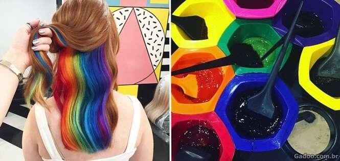 Mania de cabelo arco-íris escondido atrai cada vez mais adeptas