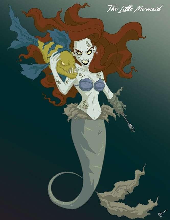 Ilustrador transforma princesas Disney em seres aterrorizantes