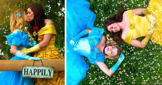 Casal homoafetivo faz sessão de fotos de noivado vestido como princesas Disney