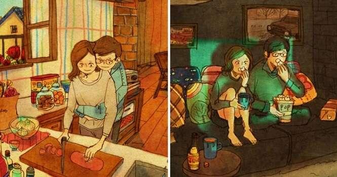 Ilustrações mostrando que o amor está nas pequenas coisas