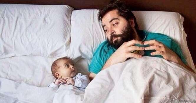 "Imagens ilustrando a famosa frase ""tal pai, tal filho"""