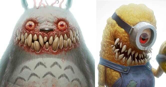 Personagens de desenhos infantis transformados em monstros