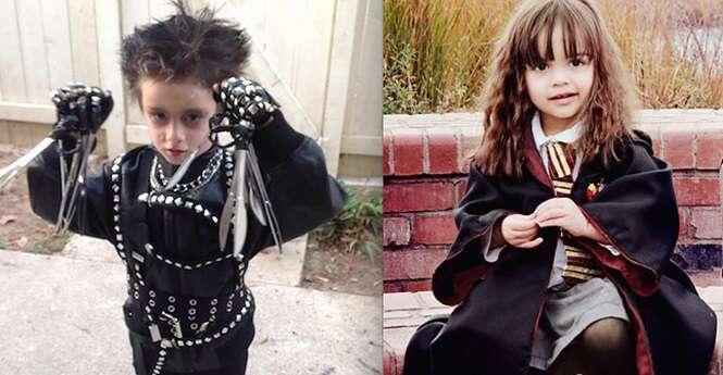 Crianças muito bem produzidas para o Dia das Bruxas