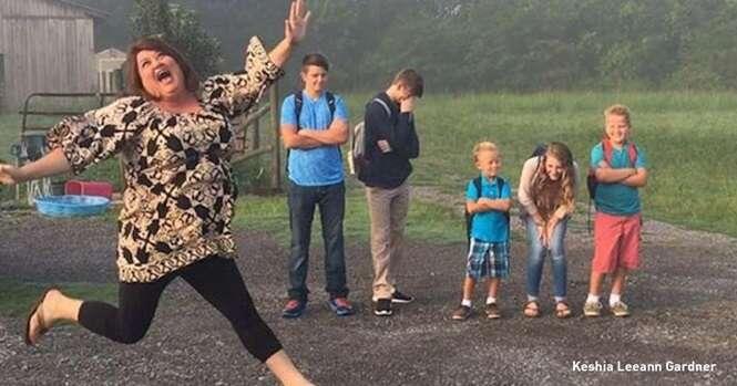 Pais que não esconderam sua felicidade com a volta às aulas