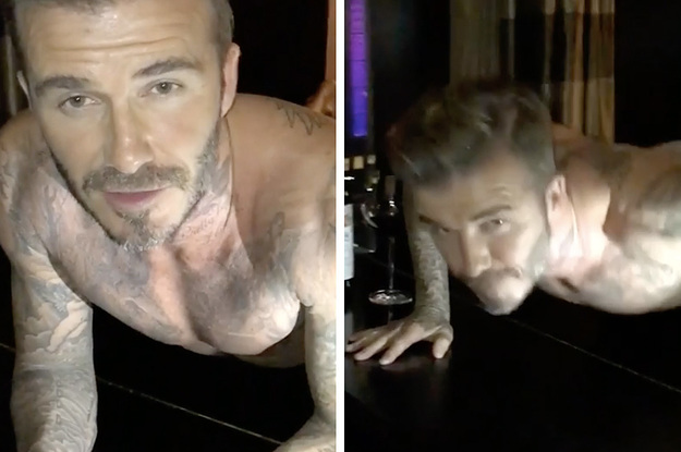Imagens mostram David Beckham fazendo flexões de cueca em cima de um piano