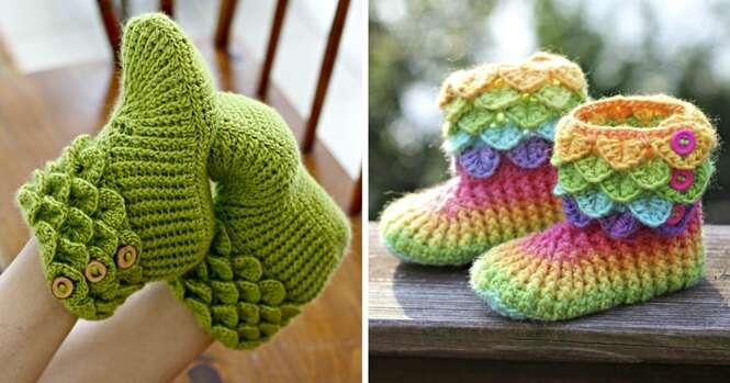 Estas lindas pantufas de crochê querem aquecer seus pés nos dias frios