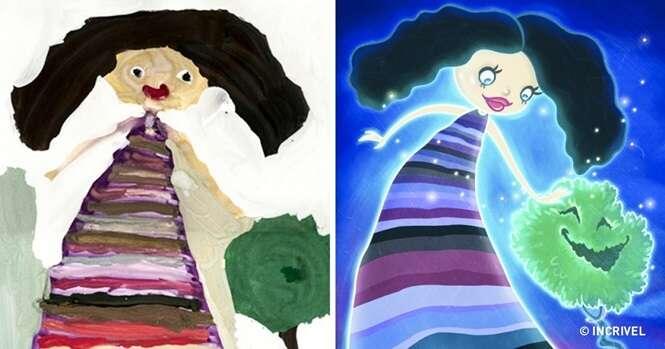 Desenhos infantis recriados por ilustradores profissionais