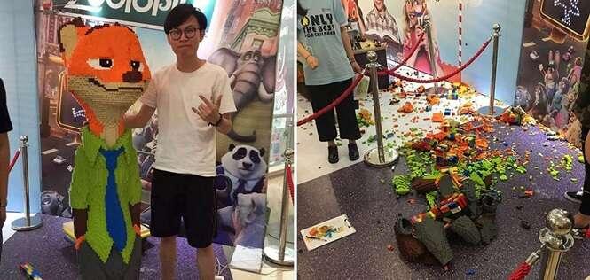Artista gasta R$ 50 mil e fica três dias seguidos sem dormir para fazer escultura, acidentalmente destruída em segundos