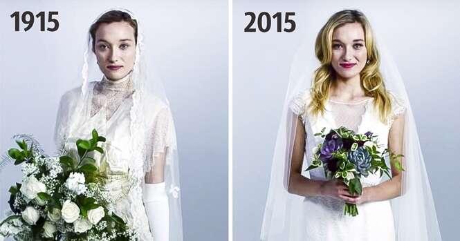 Sessão de imagens fascinantes mostra como os vestidos de noiva mudaram ao longo de 100 anos