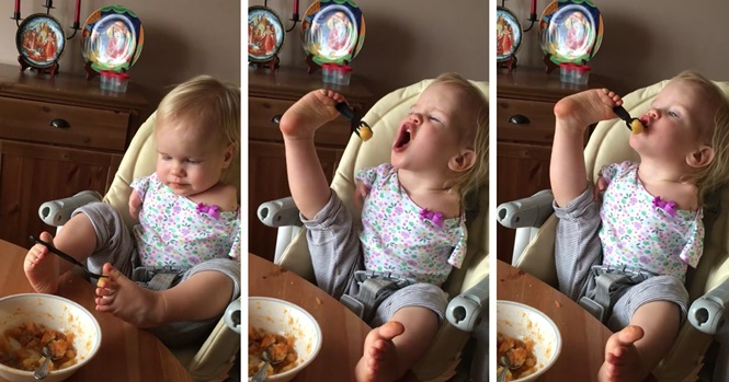 Vídeo: criança nascida sem braços aprende a se alimentar usando os pés
