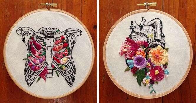 Arte floral impressionante combina vida e morte