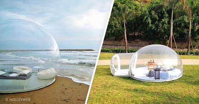 Esta incrível tenda bolha vai lhe permitir dormir sob uma linda noite estrelada