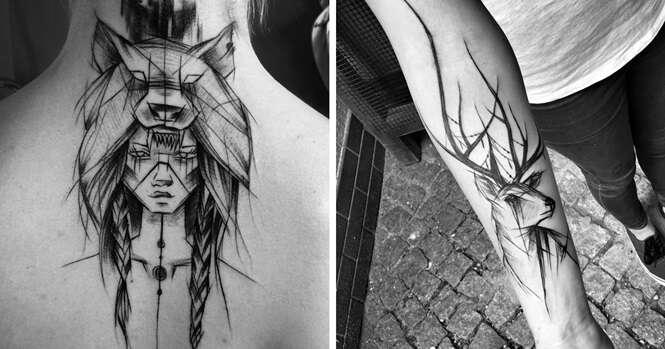 """Tatuadora polonesa faz belo trabalho com seus desenhos """"inacabados"""""""