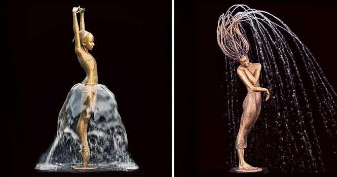 Imagens mostrando combinações impressionantes entre esculturas de bronze e água