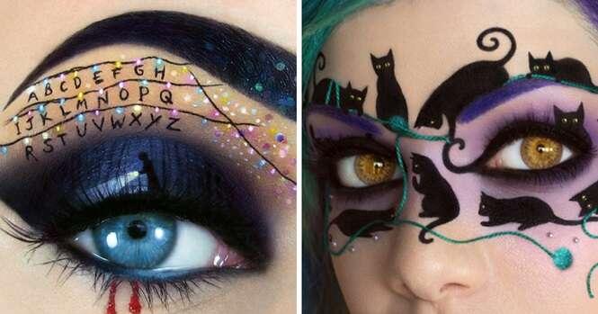 Belas maquiagens feitas na área dos olhos e inspiradas no Dia das Bruxas