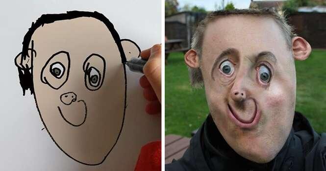 """Pai obtém resultado simultâneamente hilário e assustador transformando desenhos do filho em """"realidade"""""""