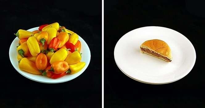 Alimentos em porções que representam 200 calorias