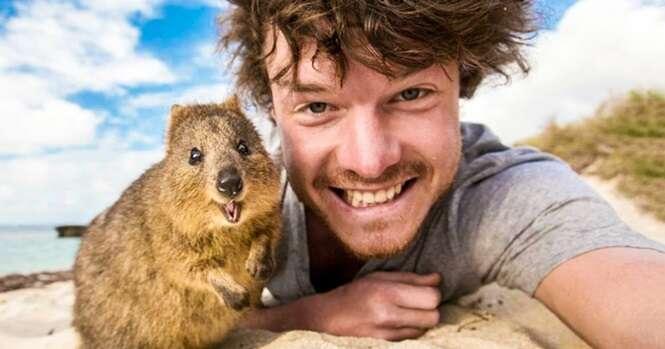 Esse cara é mestre em fazer selfies legais com animais